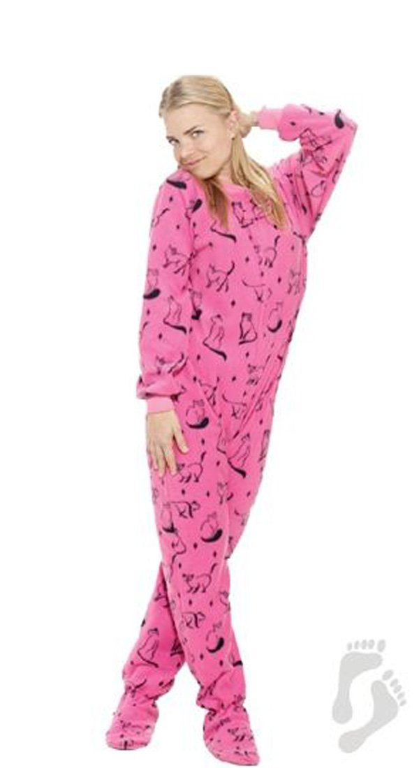 Pink Kitty French Adult Footed Pajamas