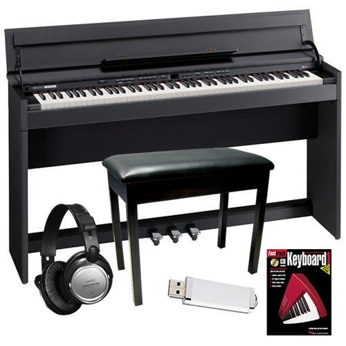 Roland DP-990F Digital Piano (Black) BUNDLE w/ Bench & Headphones