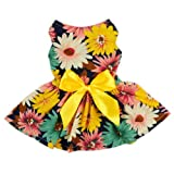 Fitwarm® Pet Elegant Floral Ribbon Dog Dress Shirt Vest Sundress Clothes Apparel, Small
