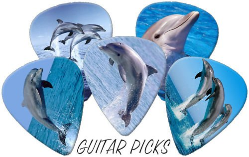 Please Note Shipped From UK Allow 7 - 12 Days Delivery Time; Dolphins Full Colour Premium Guitar Picks x 5 Medium 0.71