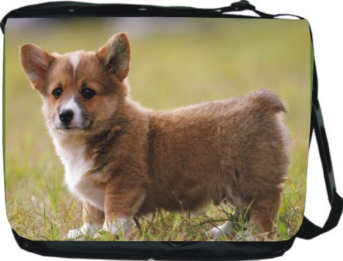 Rikki KnightTM Welsh Corgi Dog Design Messenger Bag - Book Bag - Unisex - Ideal Gift for all occassions!