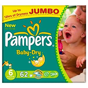 Pampers Baby Dry Size 6 16kg Jumbo Pack 62 per pack