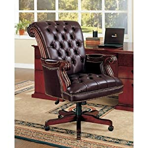 tufted leather executive office chair Amazon.com: Traditional Nailhead Trim Tufted Back