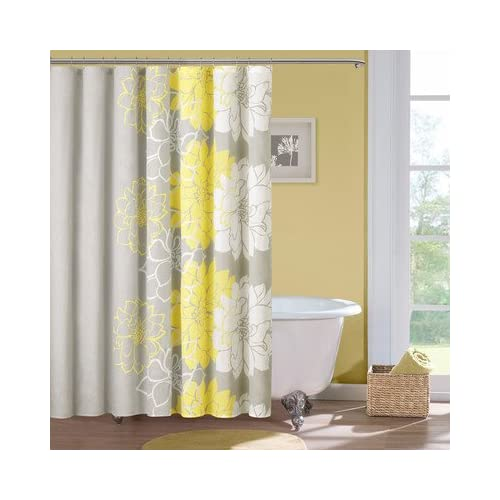Amazoncom  Lola Cotton Shower Curtain Color Gray  Yellow  Shower Curtains