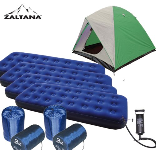 6 Person Tent, 4 of Single Size Air Mats, 4 of 3lb Sleeping Bags and Air Pump Combo