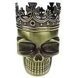 Golden Bell Ancient Crowned King Metal Skull Herb Spice Pollen Grinder--Bronze