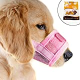 Alfie Pet by Petoga Couture - Matti Adjustable Quick Fit Nylon Mesh Muzzle - Color: Pink, Size: Medium