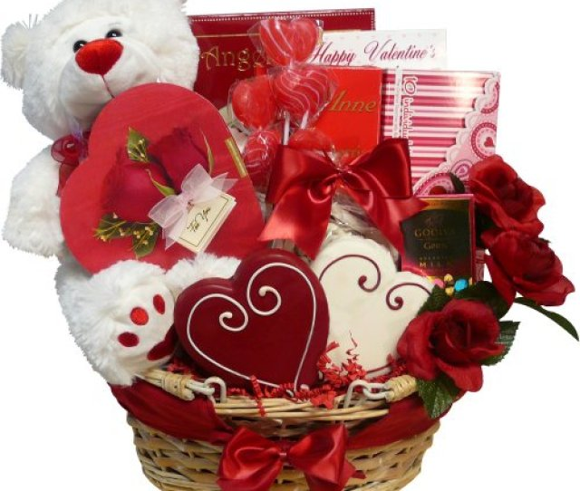 Of Appreciation Gift Baskets Valentines Treasures Gift Basket With Teddy Bear