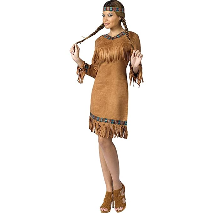 FunWorld Native American Adult, Brown, 2-8 Small Costume