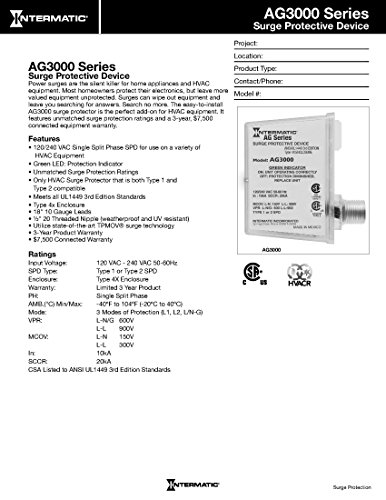 Intermatic AG3000 120/240 VAC Universal HVAC Surge