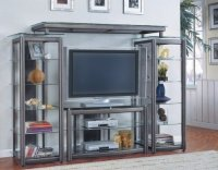 Modern Contemporary Style Gray Finish Metal Entertainment ...