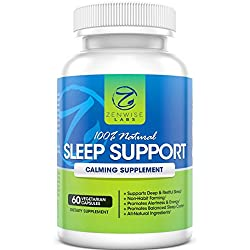 100% Natural Sleep Support - Extra Strength Nighttime Sleep Aid Supplement - 60 Vegetarian Non-Habit Forming Capsules With Melatonin, L-Taurine, L-Theanine & 5-HTP - Pills for Deep & Restful Sleeping