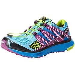 Salomon Women's XR Mission Trail Running Shoe,Score Blue/Very Purple/Pop Green,8.5 M US