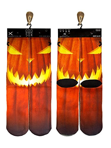 Odd Sox Jack O'Lantern Socks, Fits Sizes 6-13