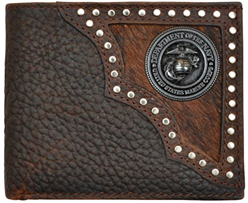 Custom United States Marine Corps Justin Brown Hair on Hide Bi-Fold Wallet