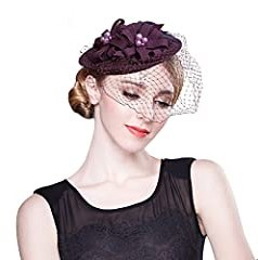 Feather Pearl Womens Dress Fascinator Wool Hat Cocktail Party Wedding Show A069 (Purple)