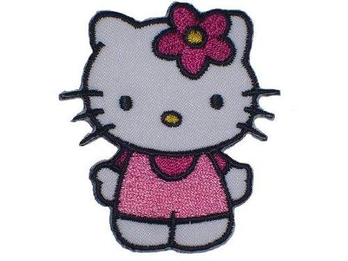 Hello Kitty 5,6 cm * 6,5 cm BÜGELBILD AUFNÄHER APPLIKATION Katze Kätzchen Blume Kinder