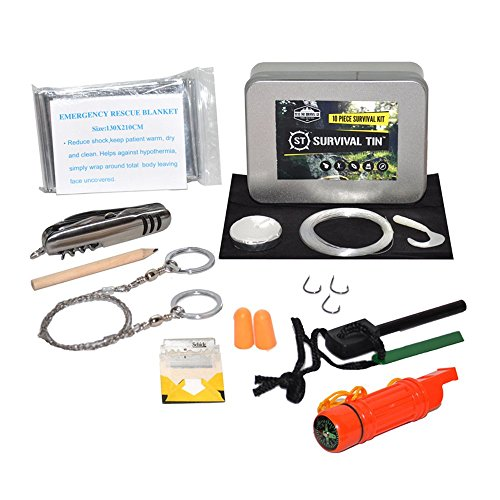 Survival Tin 10 Piece Survival Kit - Ultimate Disaster Survival Gear   Emergency Preparedness Survival Kit   Includes Pocket Knife, Blanket, Compass Whistle Mirror Combo, Fire Starter, and More!