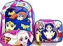 """DC Super Hero Girls 15.5"""" Backpack Book Bag with Lenticular Lunch Bag Set"""
