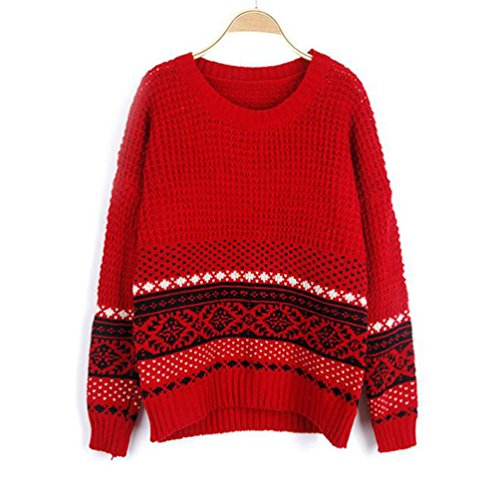 YouPue Womens Long sleeve Stylish Vintage Sweater Santa Christmas
