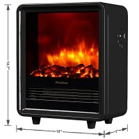 PuraFlame Portable Electric Fireplace Heater Warm Black 12 ...