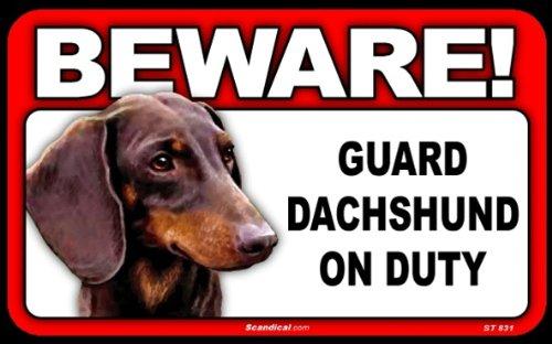 BEWARE Guard Dog on Duty Sign - Dachshund