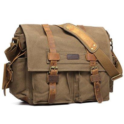 Kattee-Mens-Canvas-Cow-Leather-DSLR-SLR-Vintage-Camera-Shoulder-Messenger-Bag-Army-Green