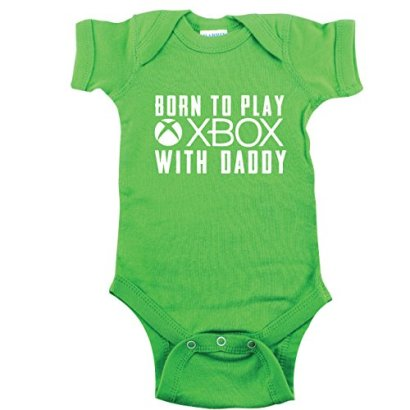 Baby-Gaming-Shirt-Born-to-Play-Xbox-with-Daddy-Green-6-12-mo