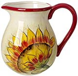 Original Cucina Italiana Ceramic Water Pitcher 3.5 Quarts with Sunflower Decor