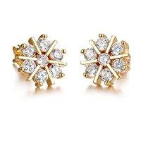 Amazon.com: 18k yellow gold plated diamond snowflake ...