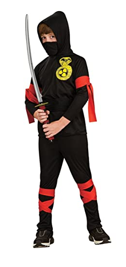 Haunted House Child's Black Ninja Costume, Medium