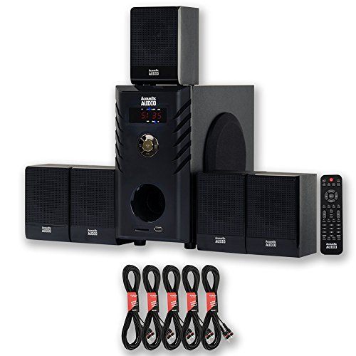 acoustic audio aa5104 home theater 5,5 extension cables surround sound,1 speaker system,video review,(VIDEO Review) Acoustic Audio AA5104 Home Theater 5.1 Speaker System with 5 Extension Cables Surround Sound,