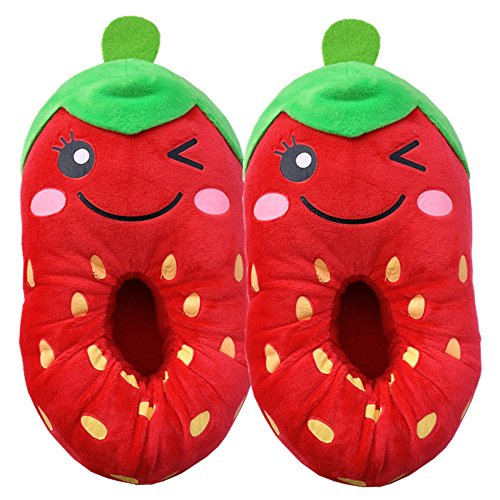 Coxeer® Winter Cotton Cartoon Cute Fruit Household Slippers Ladies Slippers (Red  Strawberry)