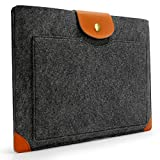 Sinoguo Dark Gray Felt & Leather Case Sleeve Pouch for 13 Inch Macbook Air Pro Retina, Handmade Laptop Bag Holder Pouch with a Pocket Outside for 13 Inch Macbook Air Pro Retina