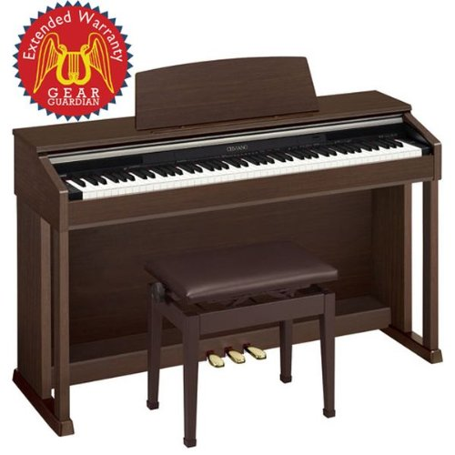 Casio AP-420 Celviano Digital Piano with Bench and Gear Guardian Extended Warranty - Brown