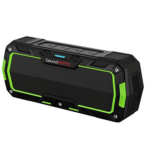 SoundPEATS [メーカー直販/1年保証付] ワイヤレススピーカー bluetooth スピーカー IP65等級 防水防塵仕様 耐衝撃 アウトドア ポータブルスピーカー マイク搭載通話可能 8時間連続再生 ブラック×グリーン