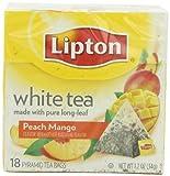 Lipton Pyramid Tea Bag, White Tea Mango Peach, 18Count