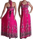 EyeCatchClothing - Verführerisches langes Kleid mit Nackenhalter und Aufdruck