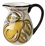Original Cucina Italiana Ceramic Wine Pitcher 2-1/4 Quart Fruit Decor