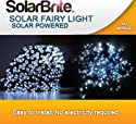 Solar Brite (TM) 50 LED Super White Solar Fairy String Lights -  With Choice of Flashing Effect or Constant Light - Complete with Free  Wall Mount and Garden Stake