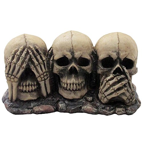 no evil skulls figurine for scary halloween decorations and spooky skeleton statues u0026 medieval fantasy home decor sculptures and gothic gifts