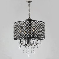 Brushed Black Round Drum Shade 4-light Crystal Chandelier ...
