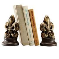 Amazon.com: Fleur de Lis Bookends Home Office Desk Decor ...