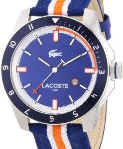 Lacoste 2010700 - Reloj analógico de cuarzo para hombre, correa de tela multicolor
