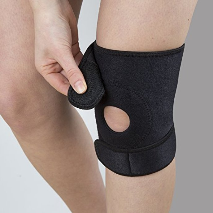 CALIBRE KNEE BRACE SUPPORT WITH OPEN PATELLA- Helps Stabilising And Recovery - High Quality Neoprene Adjustable Compression Sleeve Knee Pad - Perfect For Training, Arthritis, Strains and Knee Injuries