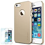 Spigen iPhone 5S Case Slim **NEW Release** [Ultra Fit] [Champagne Gold] FREE Screen Protector + Premium SM Coated Matte Hard Case with Apple Logo Cutout for the NEW iPhone 5S and iPhone 5 - ECO-Friendly Packaging - Champagne Gold (SGP10606)