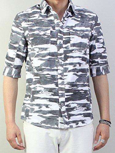 グレー LL シャツ メンズ カモフラ 5分袖intheattic トップス 半袖シャツ 迷彩 ジャガード プリント 半袖 ウエスタンシャツ ミリタリーシャツ ホワイト グレー ブルー 青