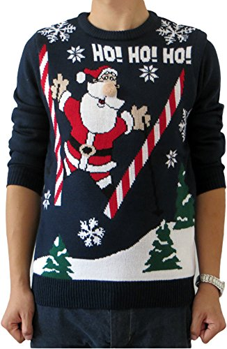 Shineflow Men's Santa Claus Ho Jacquard Light-up Ugly Christmas Sweater Pullover