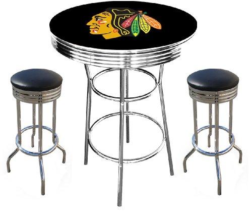 Chicago Blackhawks Logo Nhl Hockey Chrome Bar Pub Table