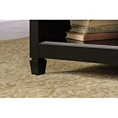Edge Water Coffee Table with Lift Top Estate Black Hidden Storage Beneath Top Open Shelves Top Lifts Up Versatile Work Surface Sauder Rectangle Shape Eco-friendly Exterior Shelves